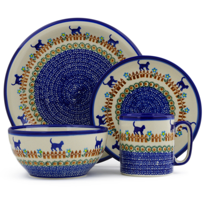 Polish Pottery 4-Piece Place Setting Kittens Fence Walk