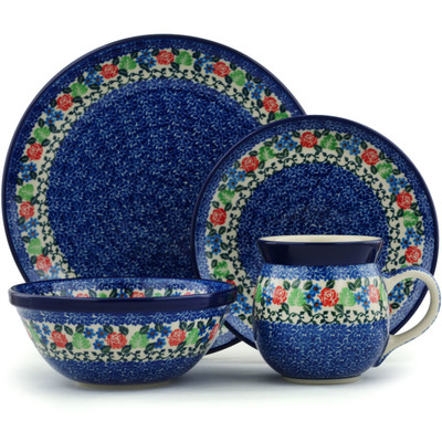 Polish Pottery 4-Piece Place Setting Obsessive Spring