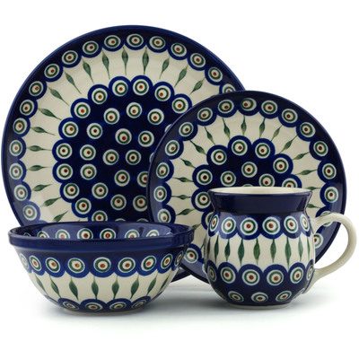 Polish Pottery 4-Piece Place Setting Peacock Leaves
