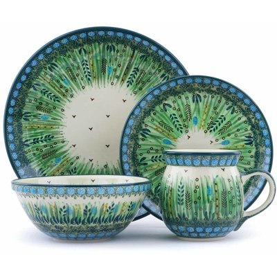 Polish Pottery 4-Piece Place Setting Prairie Land UNIKAT