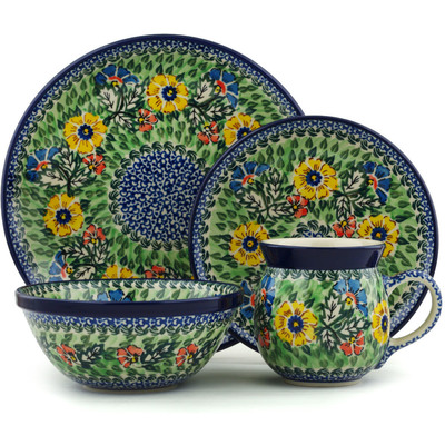 Polish Pottery 4-Piece Place Setting Spring Serenade UNIKAT