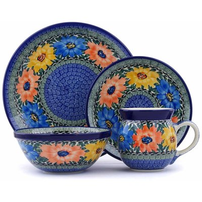 Polish Pottery 4-Piece Place Setting Summer Dance UNIKAT