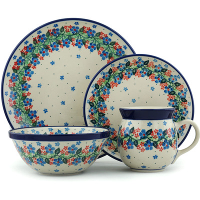 Polish Pottery 4-Piece Place Setting Summer Wreath