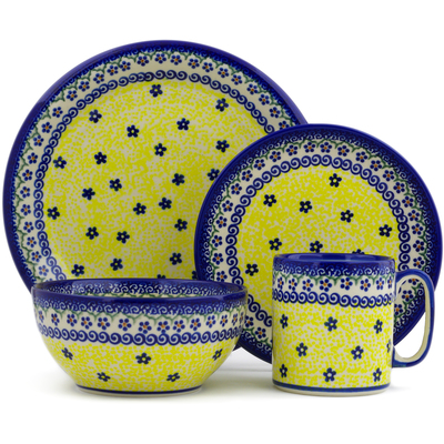 Polish Pottery 4-Piece Place Setting Sun Garden