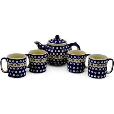 Polish Pottery 5-Piece Tea Coffee Set for Four Mosquito
