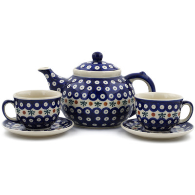 Polish Pottery 5-Piece Tea Coffee Set for Two Mosquito