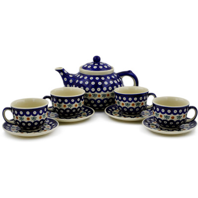Polish Pottery 9-Piece Tea Coffee Set for Four Mosquito