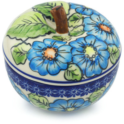 Polish Pottery Apple Baker Bold Blue Poppies UNIKAT