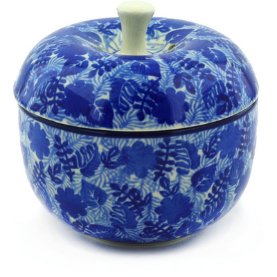 "Polish Pottery Apple Shaped Jar 4"" Sapphire Garden"