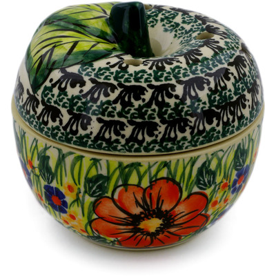 "Polish Pottery Apple Shaped Jar 4"" Wild Bouquet UNIKAT"