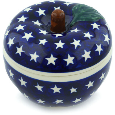 "Polish Pottery Apple Shaped Jar 5"" America The Beautiful"