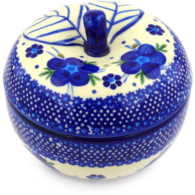 "Polish Pottery Apple Shaped Jar 5"" Bleu-belle Fleur"