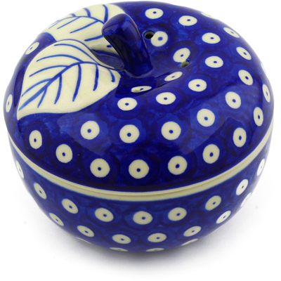 "Polish Pottery Apple Shaped Jar 5"" Blue Eyed Peacock"