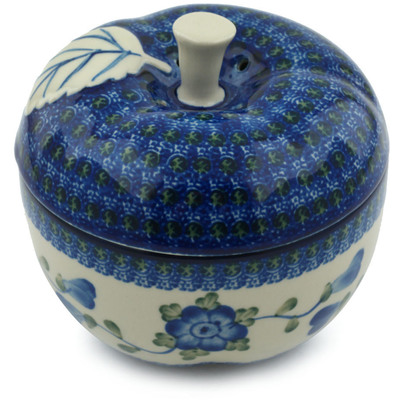 "Polish Pottery Apple Shaped Jar 5"" Blue Poppies"