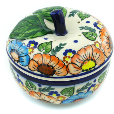 "Polish Pottery Apple Shaped Jar 5"" Bold Poppies UNIKAT"