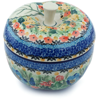 "Polish Pottery Apple Shaped Jar 5"" Bountiful Birds UNIKAT"