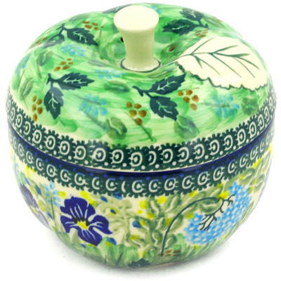 "Polish Pottery Apple Shaped Jar 5"" Butterfly Garden UNIKAT"