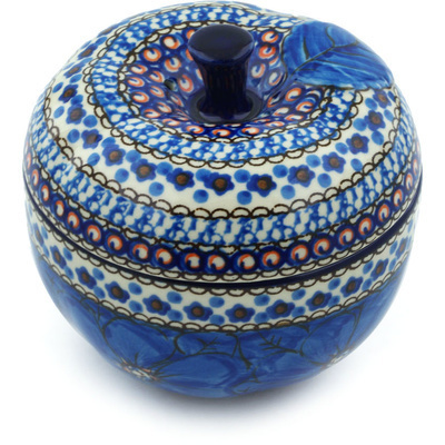 "Polish Pottery Apple Shaped Jar 5"" Cobalt Poppies UNIKAT"