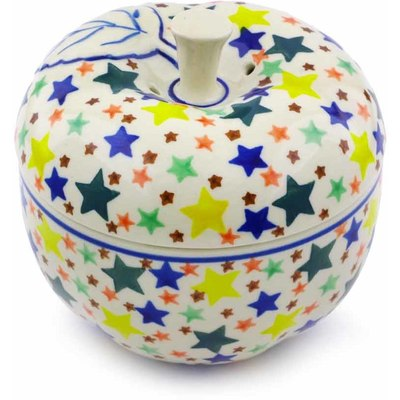 "Polish Pottery Apple Shaped Jar 5"" Confetti Stars"