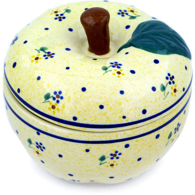 "Polish Pottery Apple Shaped Jar 5"" Country Meadow"