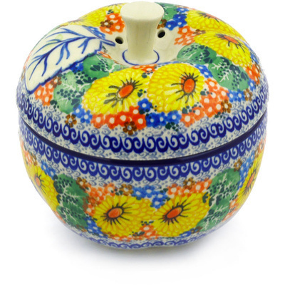 "Polish Pottery Apple Shaped Jar 5"" Enchanted Spring UNIKAT"