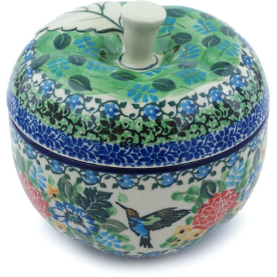 "Polish Pottery Apple Shaped Jar 5"" Hummingbird Meadow UNIKAT"
