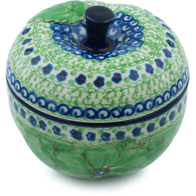 "Polish Pottery Apple Shaped Jar 5"" Key Lime Dreams UNIKAT"