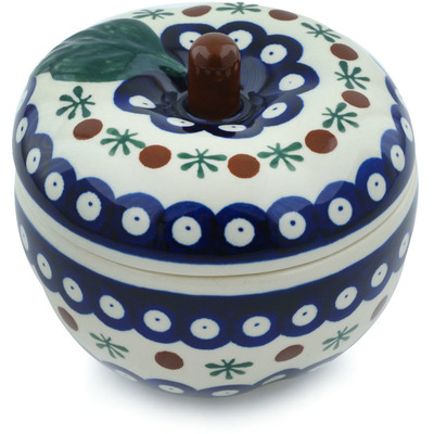 "Polish Pottery Apple Shaped Jar 5"" Mosquito"
