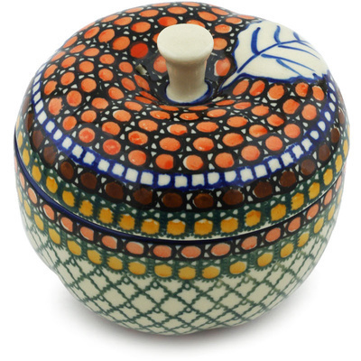 "Polish Pottery Apple Shaped Jar 5"" Orange Tranquility UNIKAT"