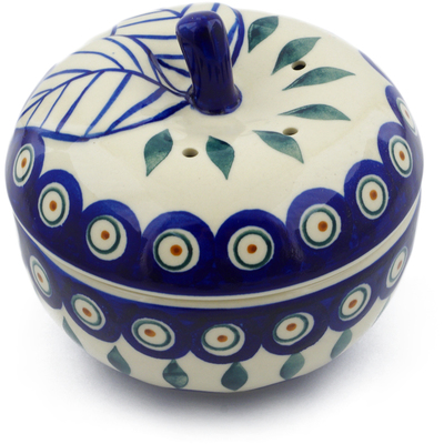 "Polish Pottery Apple Shaped Jar 5"" Peacock"
