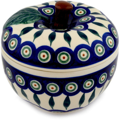 "Polish Pottery Apple Shaped Jar 5"" Peacock Leaves"