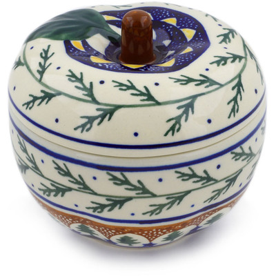 "Polish Pottery Apple Shaped Jar 5"" Pine Boughs"
