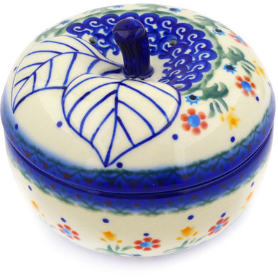 "Polish Pottery Apple Shaped Jar 5"" Spring Flowers"