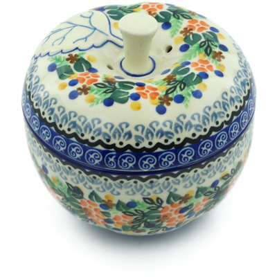 "Polish Pottery Apple Shaped Jar 5"" Springtime Wreath UNIKAT"
