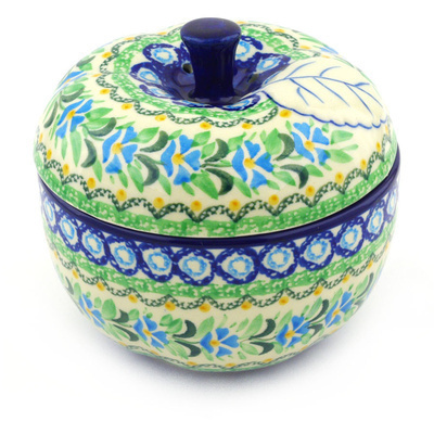 "Polish Pottery Apple Shaped Jar 5"" Top Of The Morning UNIKAT"