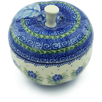 "Polish Pottery Apple Shaped Jar 5"" Tulip Motif UNIKAT"
