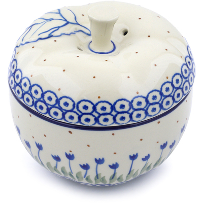 "Polish Pottery Apple Shaped Jar 5"" Water Tulip"