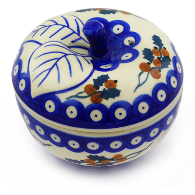 "Polish Pottery Apple Shaped Jar 5"" Yellow Holly Berries"