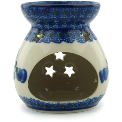 "Polish Pottery Aroma Oil Burner 3"" Blue Poppies"
