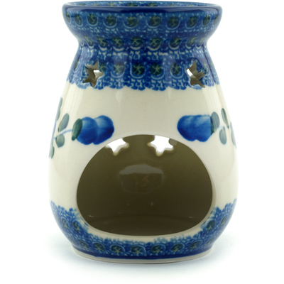 "Polish Pottery Aroma Oil Burner 4"" Blue Poppies"