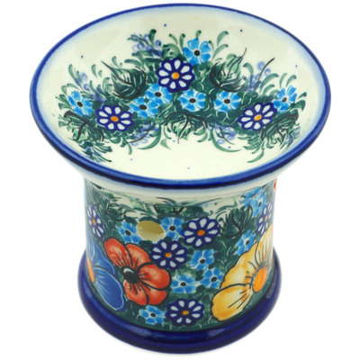 "Polish Pottery Aroma Oil Burner 4"" Summertime Blues UNIKAT"
