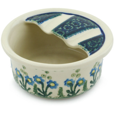 "Polish Pottery Ashtray 4"" Blue Daisy Circle"