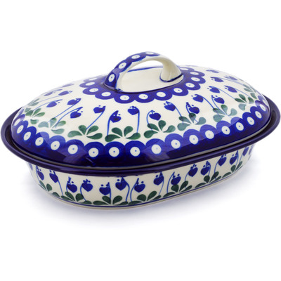 "Polish Pottery Baker with Cover 10"" Bleeding Heart Peacock"