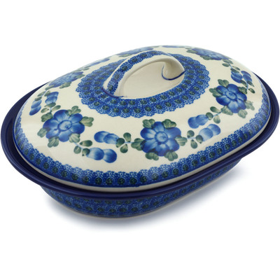 "Polish Pottery Baker with Cover 10"" Blue Poppies"