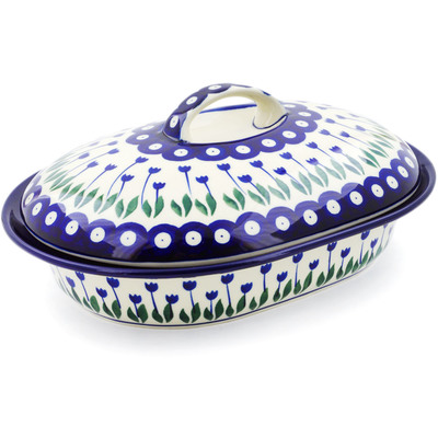"Polish Pottery Baker with Cover 10"" Blue Tulip Peacock"