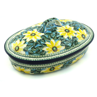 "Polish Pottery Baker with Cover 14"" Black Eyed Susan UNIKAT"