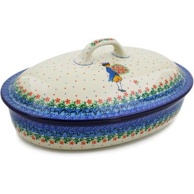 "Polish Pottery Baker with Cover 14"" UNIKAT"