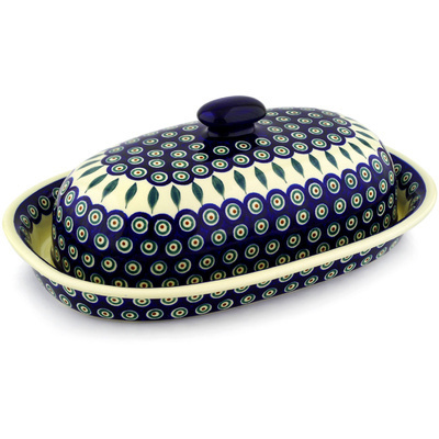 "Polish Pottery Baker with Cover 15"" Peacock Leaves"