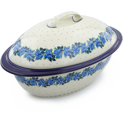 "Polish Pottery Baker with Cover 16"" Blue Garland"