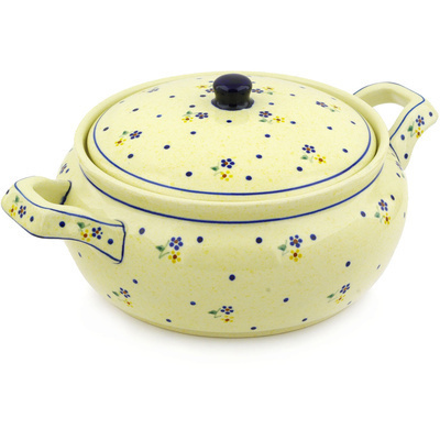 "Polish Pottery Baker with Cover with Handles 12"" Country Meadow"